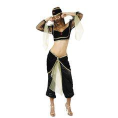 DisfracesMimo, disfraz de bailarina arabe negro mujer.  Todos caerán rendidos a tus pies y serás el centro de atención cuando bailes la danza del vientre en Fiestas Temáticas, Festivales Escolares, navidad y cabalgatas de reyes.
