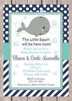 PRINTABLE Whale Baby Shower Invitation /  Navy Blue, Gray and Turquoise / You…