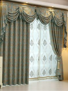 Baltic Jacquard Blue Coffee Color Floral Waterfall And Swag Luxury Valance  And Sheers And Chenille Velvet Living Room Curtains Pair   Custom Curtains  Drapes ...