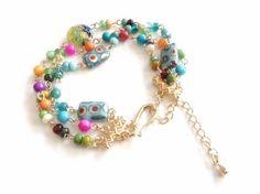 Colorful Boho Beaded Bracelet Gold Plated
