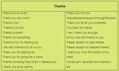 Saying Thank You in Different Ways