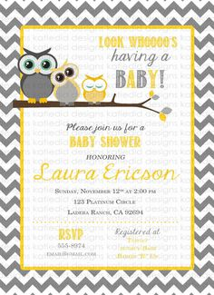 owl baby shower invitation owl first birthday gender neutral invitation owls digital yellow gray chevron item shabby chic invitation