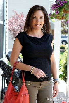 Outfit Inspiration: Black and Olive with a pop of color  Perfect look as we go into the fall!  Click through for more fall fashion ideas!  Jo-Lynne Shane