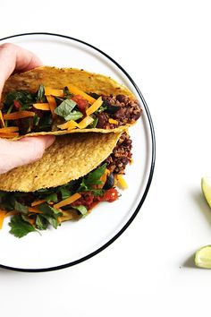 "Vegetarian taco ""meat"" made from quinoa and black beans. It's a tiny bit on the sweet side, but when combined with everything, it's so excellent."