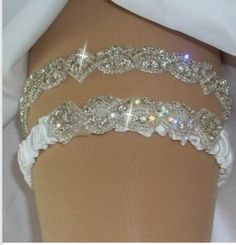 Garter Wedding Garter Wedding Garter Set w/ by bridalambrosia -- this is just so much prettier than other garter's I've seen. I love the crystal idea! Definitely something to look into later...  Oooooh, pretty.