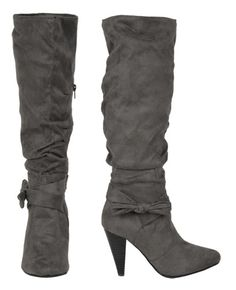 I have a weakness for boots and I really want these.  Fabulous gray color and suede leather.