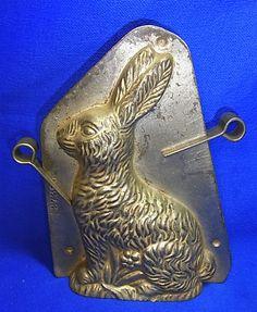 Vintage German Metal Easter Rabbit Form Chocolate Mold #AR1