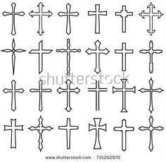 religion cross icon set, line design religion cross icon set, line design Small Cross Tattoos, Simple Cross Tattoo, Cross Tattoo For Men, Cross Tattoo Designs, Cross Designs, Top Tattoos, Hand Tattoos, Tattoos For Guys, Couple Tattoos