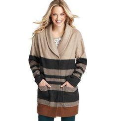 LOFT Blanket Stripe Wool Zip Coat