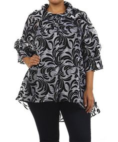 Silver & Black Flourish Jacket - Plus by Come N See #zulily #zulilyfinds