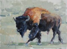 "Daily Paintworks - ""Buffalo Study #6"" - Original Fine Art for Sale - © Abigail Gutting"