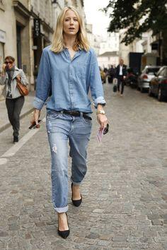 Chic double denim #streetstyle in Paris WGSN Street Shot, Paris Men's Fashion Week, Spring/Summer 2014