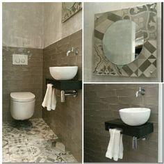 (Welbie Sanitair) Sfeervolle showroom toiletindeling, met authentieke vintage uitstraling. Nic Design wandcloset, Welsan fontijnset met ronde waskom van keramiek, op een granieten plateau met handdoekjeshouder. Samen met de patchwork tegel van Cifre een goed passende combinatie. Meer op www.welbie.nl