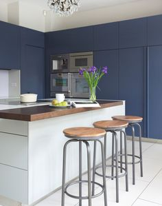 Modern kitchen with navy units and white island