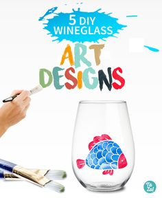 Check out our favorite wineglass art designs. All are easy to DIY. Some are even projects the kids can do! You don't have to be an artist or even all that crafty to execute these projects.   #stemless #wine #glass #art #painting #paints #patterns #sunflowers #snowflakes #vines #grass #lines #dots #polka #pattern #flowers #blue #bonnets #flower #flowery #nature #green #blue #stencil #paintbrush #acrylic #paint #pens #glitter #metallic #gold #silver
