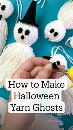 Halloween Poems For Kids, Halloween Yarn, Halloween Arts And Crafts, Toddler Halloween Costumes, Halloween Ornaments, Halloween Food For Party, Christmas Ornaments, Panda Decorations, Diy Halloween Decorations