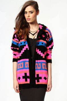 Jessie Neon Patterned Hooded Cardigan