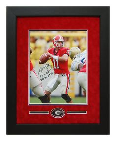 Aaron Murray Autographed Hand Signed Georgia Bulldogs - Custom Framed 11x14 Photo vs Georgia Tech - Inscribed! SEC Passing Leader! Great for any Man Cave or DAWGS House!  #ManCaveDecor #GeorgiaBulldogs #SportsMemorabilia #Autographs #AaronMurray #GiftsForHim
