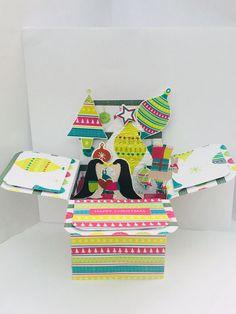 Handmade Christmas Card, Pop Up Box Card, Personalised Christmas Card, Penquin Luxury Christmas Cards, Boxed Christmas Cards, Personalised Christmas Cards, Handmade Christmas, Pop Up Box Cards, Flamingo, Stationery, Diy, Flamingo Bird