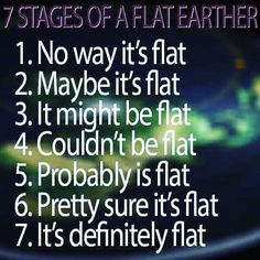 Yup, for me it was: 1. That's interesting, why do people still think that? 2. Huh, there are actually compelling reasons. 3. It could be, 4. probably, 5. pretty sure, 6. definitely is flat.
