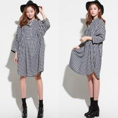 TE6484YZS 2016 autumn large size black and white checks slim waist shirt dress