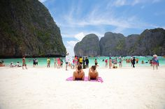 Patrick Foto ;) posted a photo:  MAYA BAY, THAILAND - MARCH, 2017: Crowds of sunbathing visitors enjoy a day trip boat ride to Maya Bay, one of the iconic beaches of Southern Thailand.
