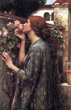 The Soul of the Rose, oil in canvas by John William Waterhouse (British, 1849-1917), shows the mortal Psyche admiring the Eros's magical garden, the Greek god of life.