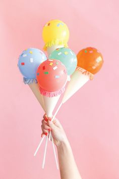 Sweeten any celebration you host for family and friends this summer with this idea for Mini Ice Cream Cone Balloon Sticks. Bundle them together for a festive ice cream bouquet! We also love the idea of incorporating this homemade craft into the centerpieces at your kid's next birthday party.