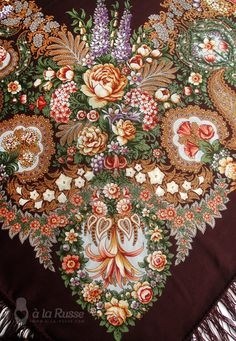 Items similar to Russian luxurious shawl OLEANA - Russian scarf by A LA RUSSE. Bohemian floral pattern, deep braun, 146 cm, wool on Etsy Russian Beauty, Russian Fashion, Russian Style, Textures Patterns, Print Patterns, Nomad Fashion, Iranian Women Fashion, Russian Culture, Fairytale Fashion