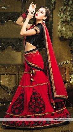 Magnificent Red & Black Contrast Net & Silk Lehenga Style #Saree
