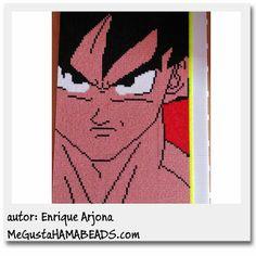Goku portrait Dragon Ball Hama beads (12 pegboards) by Enrique Arjona - Pattern: http://www.megustahamabeads.com/2013/12/hama-beads-plantillas-goku-rostro.html