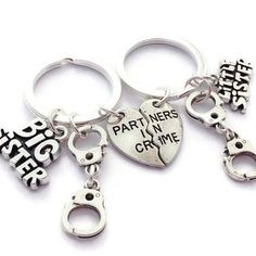 Big Sister Keychain Little Keyring Partner In Crime Handcuff Accessory Birthday