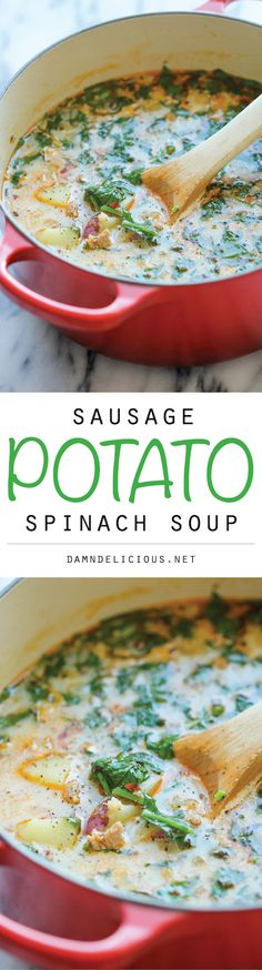 "Soup! --> ""Sausage, Potato and Spinach Soup - A hearty, comforting soup that's so easy and simple to make, loaded with tons of fiber and flavor! 329.5 calories"""