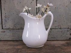 Vintage White Pitcher Buttermilk or Creamer by TreasuredPrimitives, $18.00