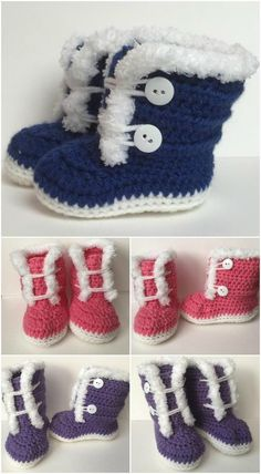 Crochet furry booties. Crochet patterns for sizes 3-12 months. Free pattern. - Crocheting Journal