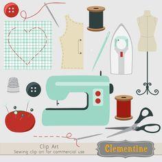 Retro sewing clip art, retro clip art images, royalty free clip art- Instant…