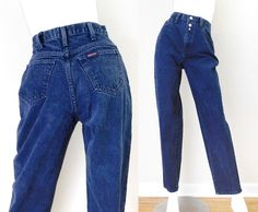 Sz 4-5 90s Sasson High Waisted Mom Jeans - Vintage Women's Baggy High Rise Tapered Leg Stone Wash Dark Rinse Denim Jeans - 26 waist by SadieBessVintage on Etsy