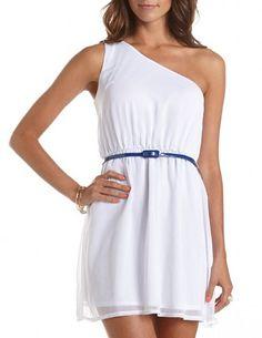 Belted One Shoulder A-Line Dress: Charlotte Russe