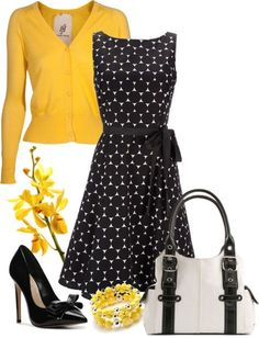 Black & white polka dress but different color for the sweater