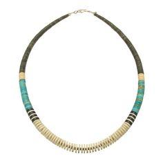 Sélection Aout : #Collier Pueblo, #Turquoise, #Coquillage, Jais et serpentine heishy, fermoir en argent