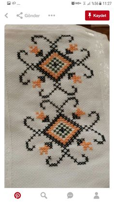 Handige Tante's media content and analytics Cross Stitch Geometric, Cross Stitch Borders, Cross Stitch Flowers, Cross Stitch Designs, Cross Stitch Patterns, Kasuti Embroidery, Folk Embroidery, Cross Stitch Embroidery, Cross Stitch Cushion