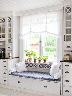Kitchen Window Seat Decor Nooks New Ideas Kitchen Window Shelves, Window Seat Kitchen, Window Sill, Window Ledge, Ledge Shelf, Window Blinds, Sink Shelf, Window Lights, Kitchen Windows