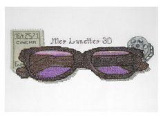 Lunettes 3D point de croix - 3D glasses  cross stitch