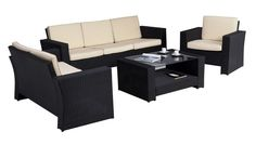 Ensemble salon de jardin Confort sofa 3 places 2 fauteuils et 1 table -  Wilsa Garden 792253b1caf9