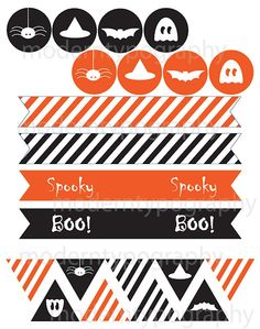 Free DIY Printable Halloween Images for party flags, garland, cupcakes, and… Halloween Treats For Kids, Halloween Images, Halloween Prints, Halloween Birthday, Holidays Halloween, Halloween Outfits, Spooky Halloween, Happy Halloween, Halloween Decorations