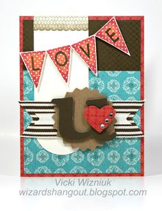 Valentine card using CTMH Stella paper pack and Pennant Alphabet stamp set.