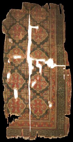 14th century Ottoman rug with Holbein Gül, Vakiflar Carpet Museum (860-861-1033)