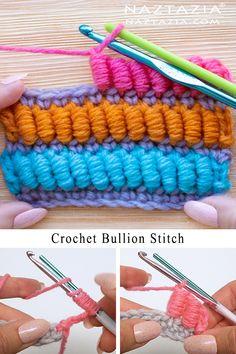 # crochet motif diagram Crochet Bullion Stitch Tutorial by Donna Wolfe from Naztazia Bonnet Crochet, Knit Or Crochet, Crochet Motif, Crochet Hooks, Crochet Hooded Scarf, Crochet Slippers, Learn To Crochet, Crochet Scarves, How To Knit