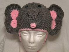 Crocheted Elephant Hat w/ Earflaps