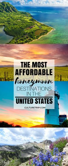 The Most Affordable Honeymoon Destinations in the United States Enjoy your time . - The Most Affordable Honeymoon Destinations in the United States Enjoy your time as a newly married couple by spending your honeymoon at one of these a. Honeymoon Destinations All Inclusive, Honeymoon Places, Best Honeymoon, Travel Destinations, Us Honeymoon Ideas, California Honeymoon, Honeymoon Trip, Affordable Vacations, Bora Bora